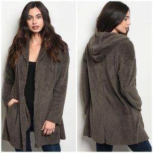 Jackets & Blazers - CHARCOAL Sherpa faux fur jacket sweater